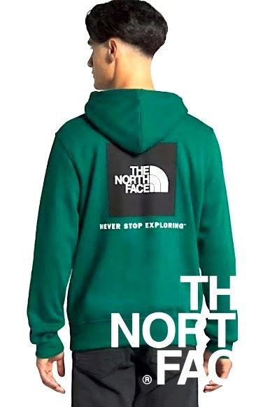 海外限定カラー 定価約1.3万 US購入 M/THE NORTH FACE BOX NSE ノースフェイス 上質 スウェット パーカー ボックスロゴ GREEN / キャンプ