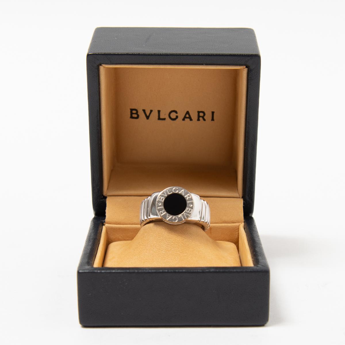 BVLGARI ブルガリブルガリ K18WG×オニキス トゥボガス リング 指輪 ホワイトゴールド 17