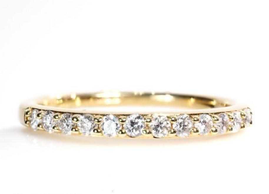 格安スタート! 18金製 刻印 憧れ上品 エタニティ 天然ダイヤモンド リング 指輪 K18YG K18 5612