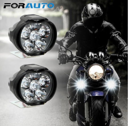 【新品】2個 オートバイ ヘッドライト 6500 18k ホワイト 超高輝度 6 led 作業 スポットライト バイク フォグランプ 1200LM led スクーター_画像1