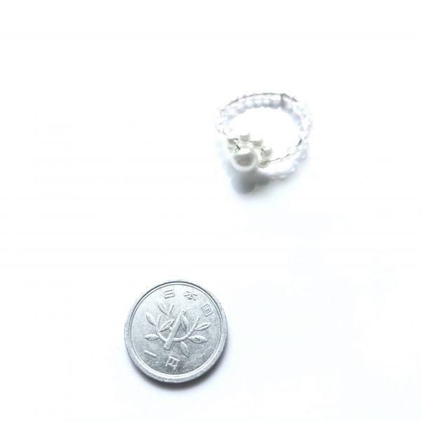 1円~ ♪ ハンドメイド  パールビーズのお花のビーズリング 約15号_画像2