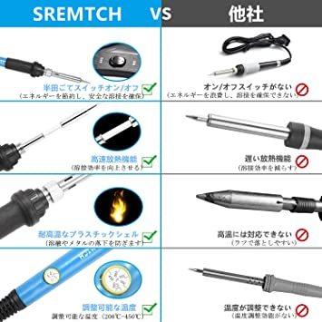 青 SREMTCH はんだごてセット 21-in-1 温度調節可(200~450℃) ON/OFFスイッチ 60W/110V ハ_画像3