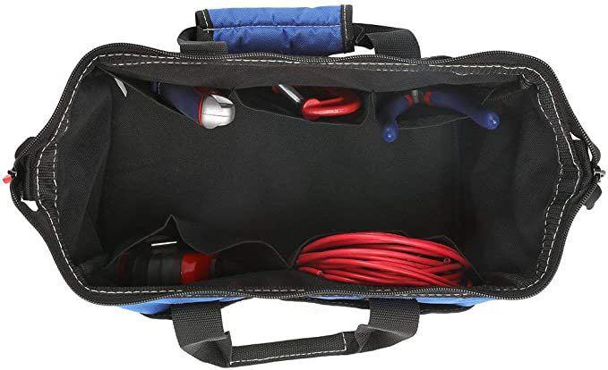 ツールバッグ 工具差し入れ 道具袋 工具バッグ 大口収納 600Dオックスフォード ワイドオープン 幅33cm_画像3