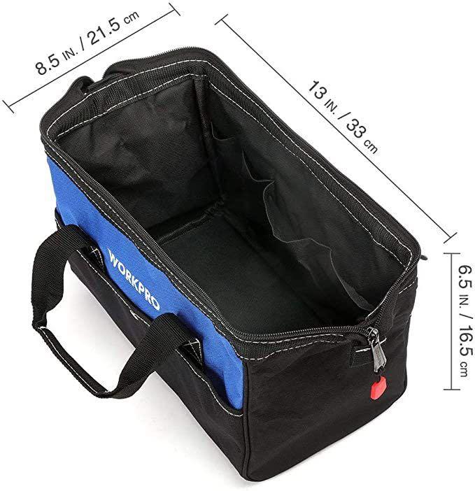 ツールバッグ 工具差し入れ 道具袋 工具バッグ 大口収納 600Dオックスフォード ワイドオープン 幅33cm_画像2