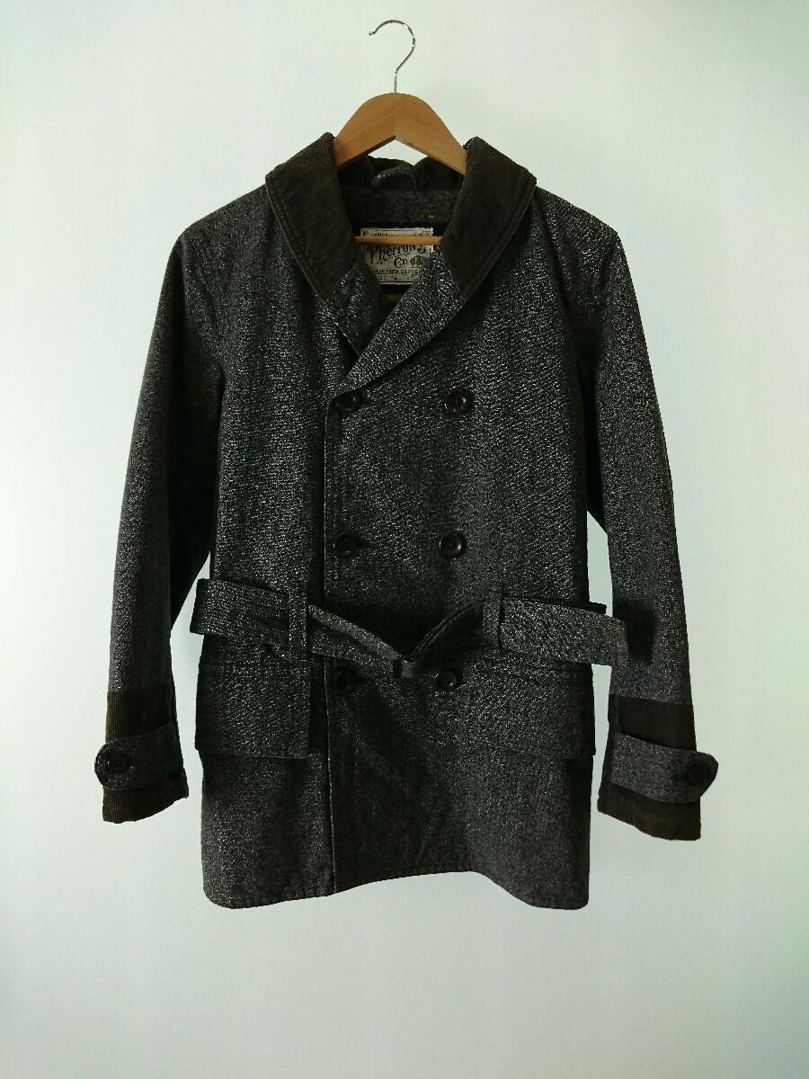 PHERROW'S◆コート/36/-/GRY/グレー/撚り杢コーディロイ切替ショールカラーコート