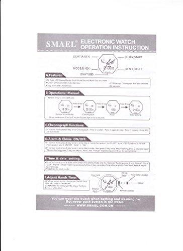 ブルー 腕時計 メンズ SMAEL腕時計 メンズウォッチ 防水 スポーツウォッチ アナログ表示 デジタル クオーツ腕時計  多機_画像7