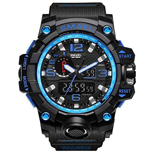 ブルー 腕時計 メンズ SMAEL腕時計 メンズウォッチ 防水 スポーツウォッチ アナログ表示 デジタル クオーツ腕時計  多機_画像1