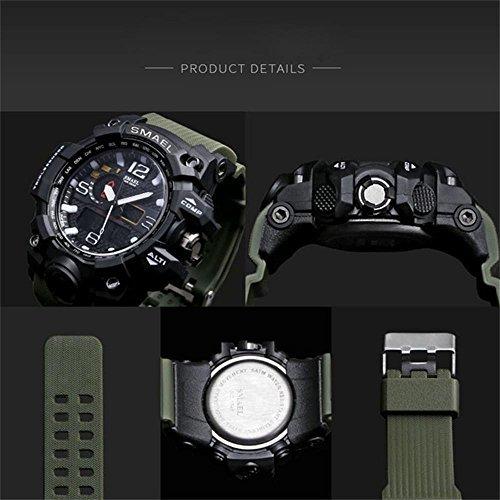 ブルー 腕時計 メンズ SMAEL腕時計 メンズウォッチ 防水 スポーツウォッチ アナログ表示 デジタル クオーツ腕時計  多機_画像6