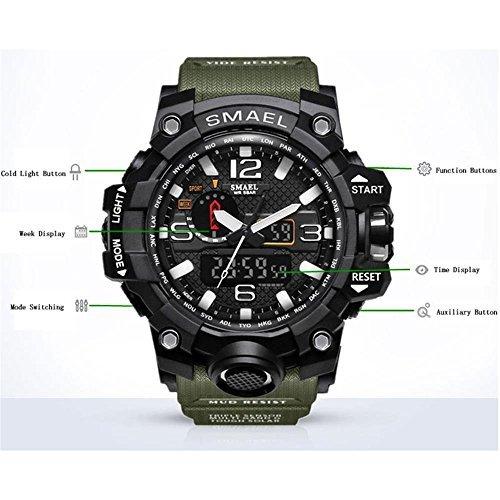 ブルー 腕時計 メンズ SMAEL腕時計 メンズウォッチ 防水 スポーツウォッチ アナログ表示 デジタル クオーツ腕時計  多機_画像4