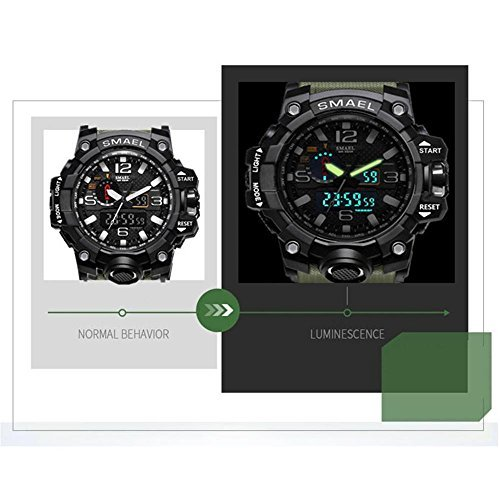 ブルー 腕時計 メンズ SMAEL腕時計 メンズウォッチ 防水 スポーツウォッチ アナログ表示 デジタル クオーツ腕時計  多機_画像5