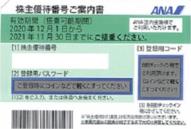 【番号通知・クレカOK・1時間以内通知確約(6~22時まで)】ANA 全日空 全日本空輸 株主優待券 1枚 (有効期限2021年11月30日)_画像1