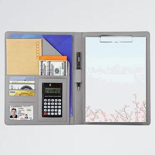 未使用 新品 多機能フォルダ- A4バインダ- 4-TY オフィス用品 (シルバ-) クリップボ-ド A4ファイル 12桁電卓付き_画像1