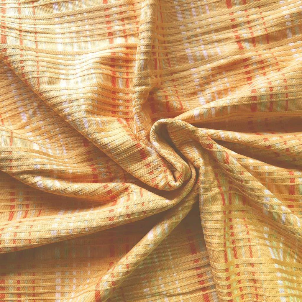 【ニット生地】オレンジ系ボーダー柄 綿混 長さ100cm はぎれ ハンドメイドに