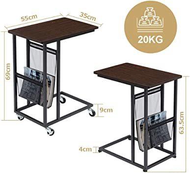 0b579ブラウン EKNITEY サイドテーブル ソファ ナイトテーブル コ字型 キャスター付き _画像6