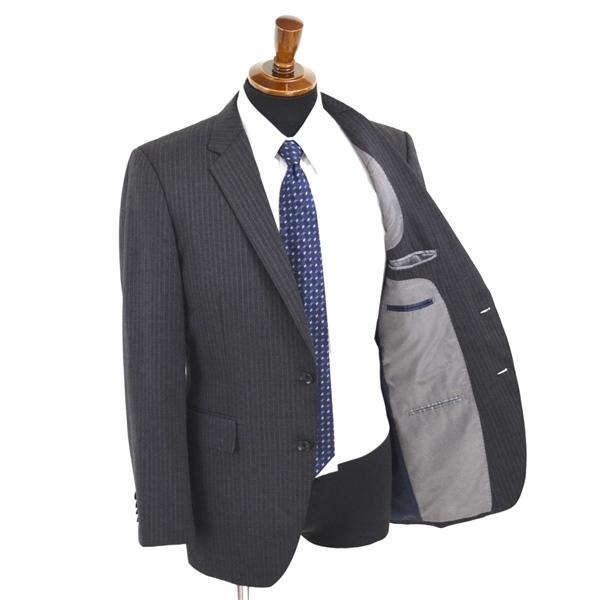 1XD30】P.S.FA 2つボタン シングルスーツ M A6 グレー ストライプ ノータック 人気 定番 通勤 営業 NC310259-18 夏物 春夏 薄手_画像2