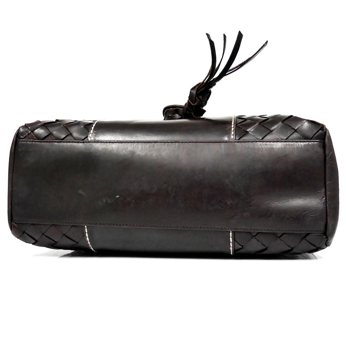 即決★IL BIANCO★レザーハンドバッグ イルビアンコ メンズ 茶 焦茶 本革 トートバッグ 本皮 かばん 鞄 レディース 手提げバッグ_画像6