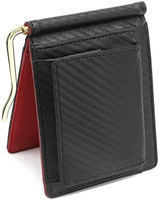【新品未使用】レッド Querencia マネークリップ 小銭入れ付き 本革 メンズ 財布 二つ折り_画像1