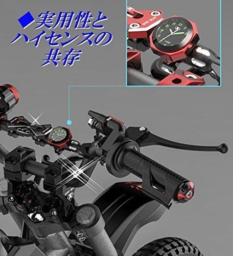 新品シルバー(銀) IPX7級防水 バイク オートバイ 自転車 用 アナログ 時計 夜光 日本語 説明書 付き1YS5_画像2