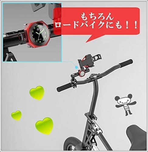 新品シルバー(銀) IPX7級防水 バイク オートバイ 自転車 用 アナログ 時計 夜光 日本語 説明書 付き1YS5_画像5