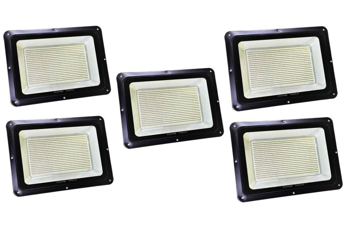 5台セット!【爆連SMDチップ1300発搭載】LED500W投光器 6500K白色 IP66 屋外照明
