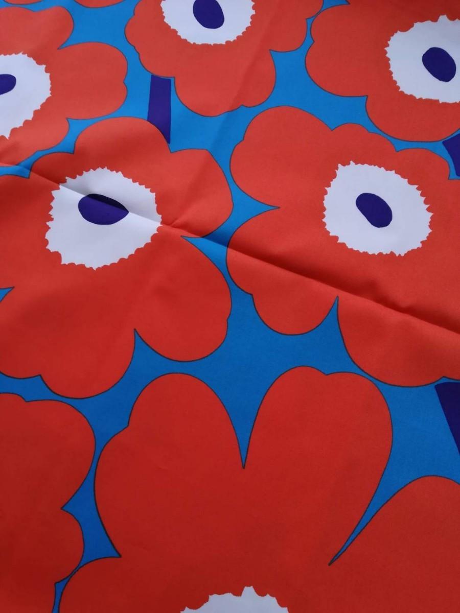 マリメッコ marimekko オレンジ ブルー 花柄 ウニッコ 服飾生地 布