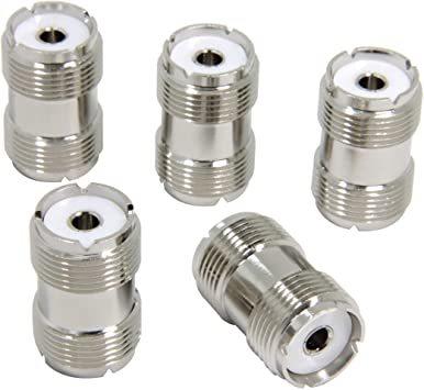 シルバー [5個入] M型メス-M型メス MJMJ 中継コネクタ 両端M型 5個セット eBayson 同軸ケーブル延長 接続用_画像1