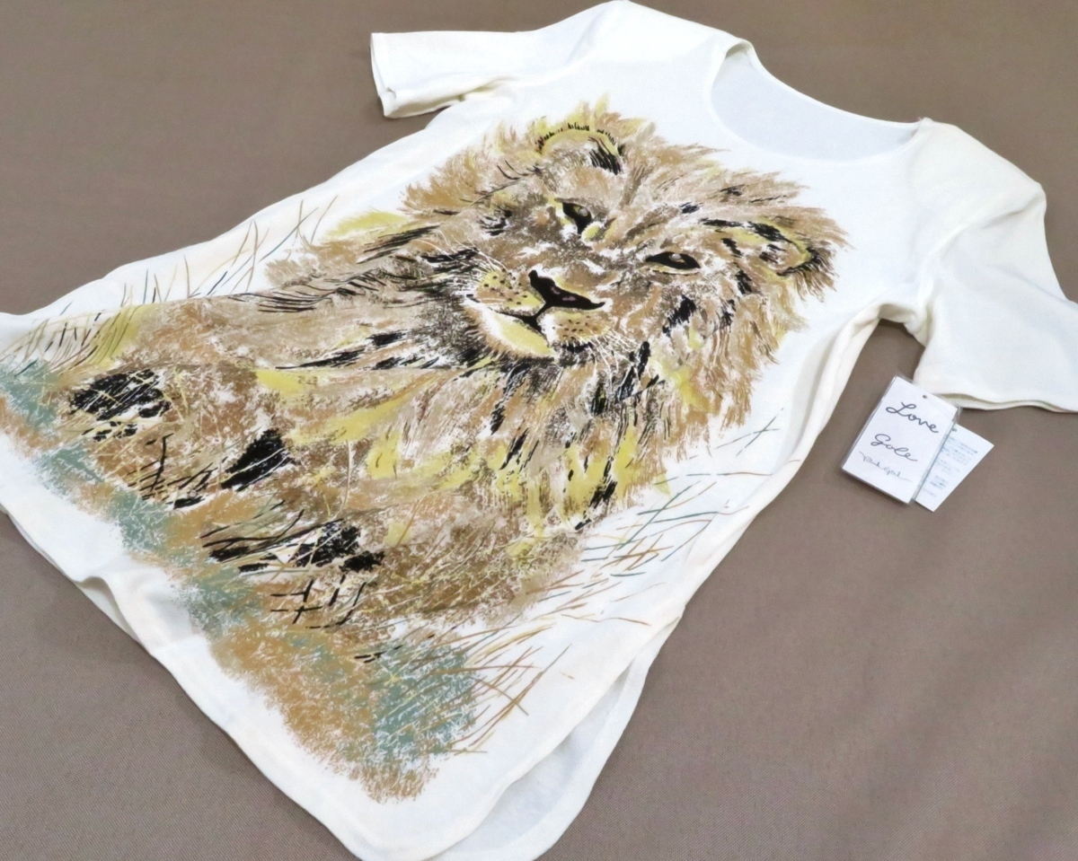 正規品 伊太利屋 イタリヤ Tシャツ 半袖 綿100% アニマル ストーン ホワイト系 レディー