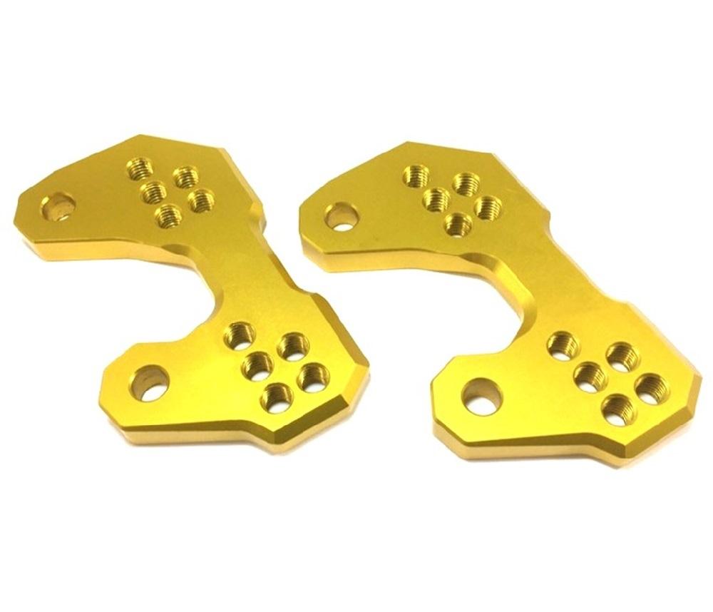ヤマハ 用 バック ステップ アップ プレート 5 ポジション アルミ 削り出し ゴールド 金 YZF-R25 YZF-R3 MT-25 MT-03 等_画像2