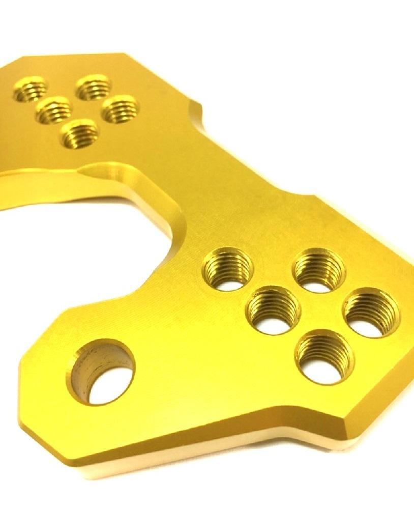 ヤマハ 用 バック ステップ アップ プレート 5 ポジション アルミ 削り出し ゴールド 金 YZF-R25 YZF-R3 MT-25 MT-03 等_画像3