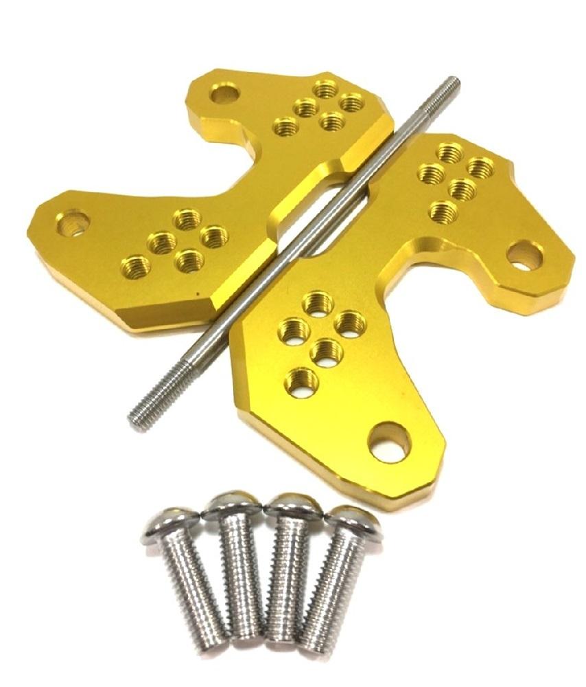 ヤマハ 用 バック ステップ アップ プレート 5 ポジション アルミ 削り出し ゴールド 金 YZF-R25 YZF-R3 MT-25 MT-03 等_画像1