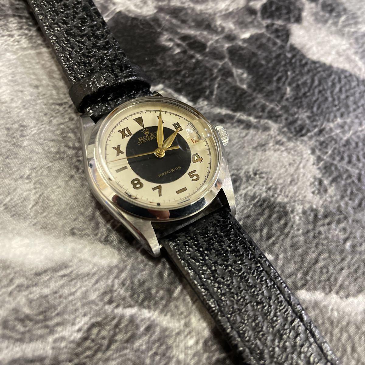 希少文字盤・稼働品・ROLEX ロレックス オイスターデイト プレシジョン 腕時計 ボーイズ メンズ 6466 17石 アンティーク 手巻き式//3260_画像2