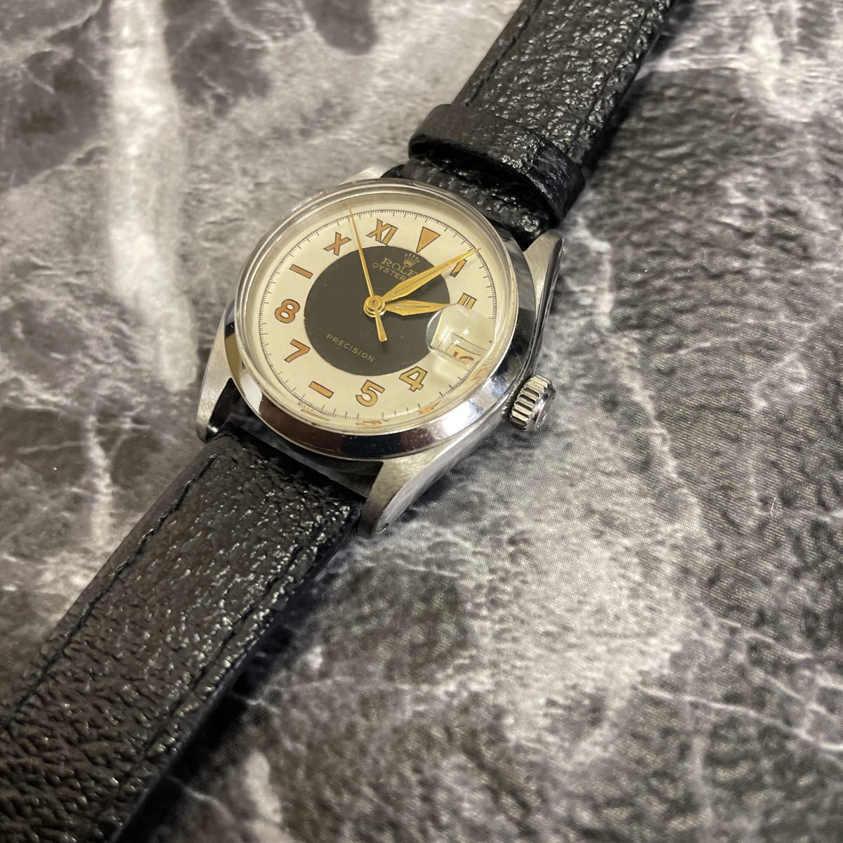 希少文字盤・稼働品・ROLEX ロレックス オイスターデイト プレシジョン 腕時計 ボーイズ メンズ 6466 17石 アンティーク 手巻き式//3260_画像4