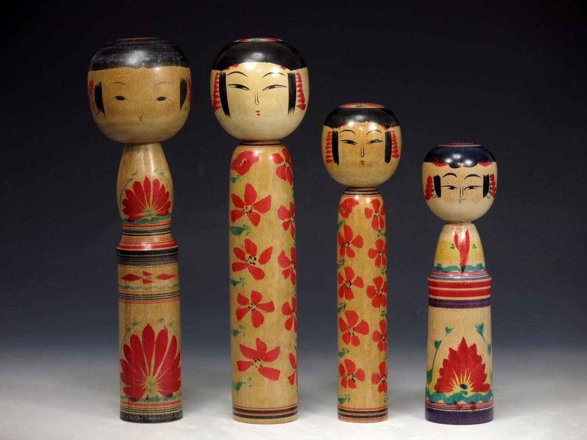 伝統こけし 色々まとめて 4点 作家物 日本人形 佐藤春二 ガラ入り 129