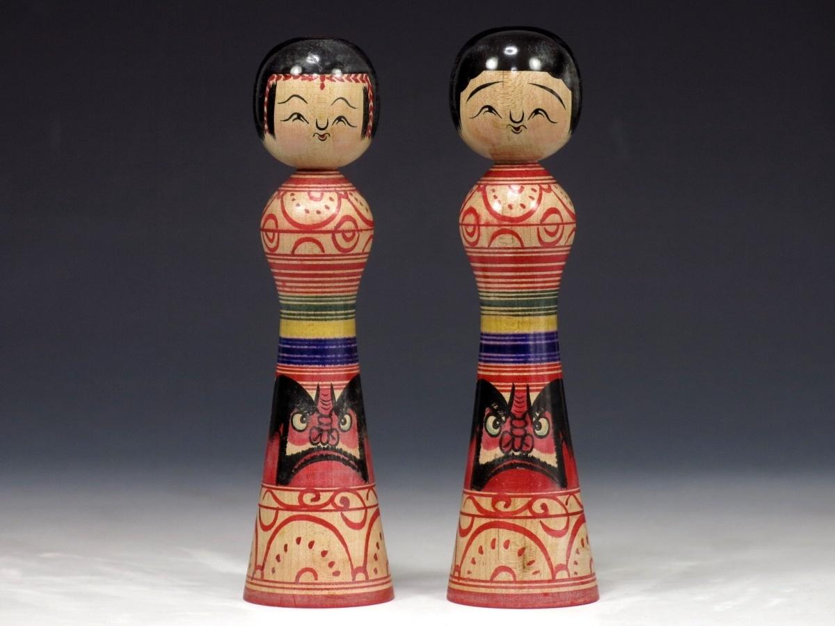 伝統こけし 色々まとめて 2点 作家物 日本人形 奥瀬鉄則 だるま 151