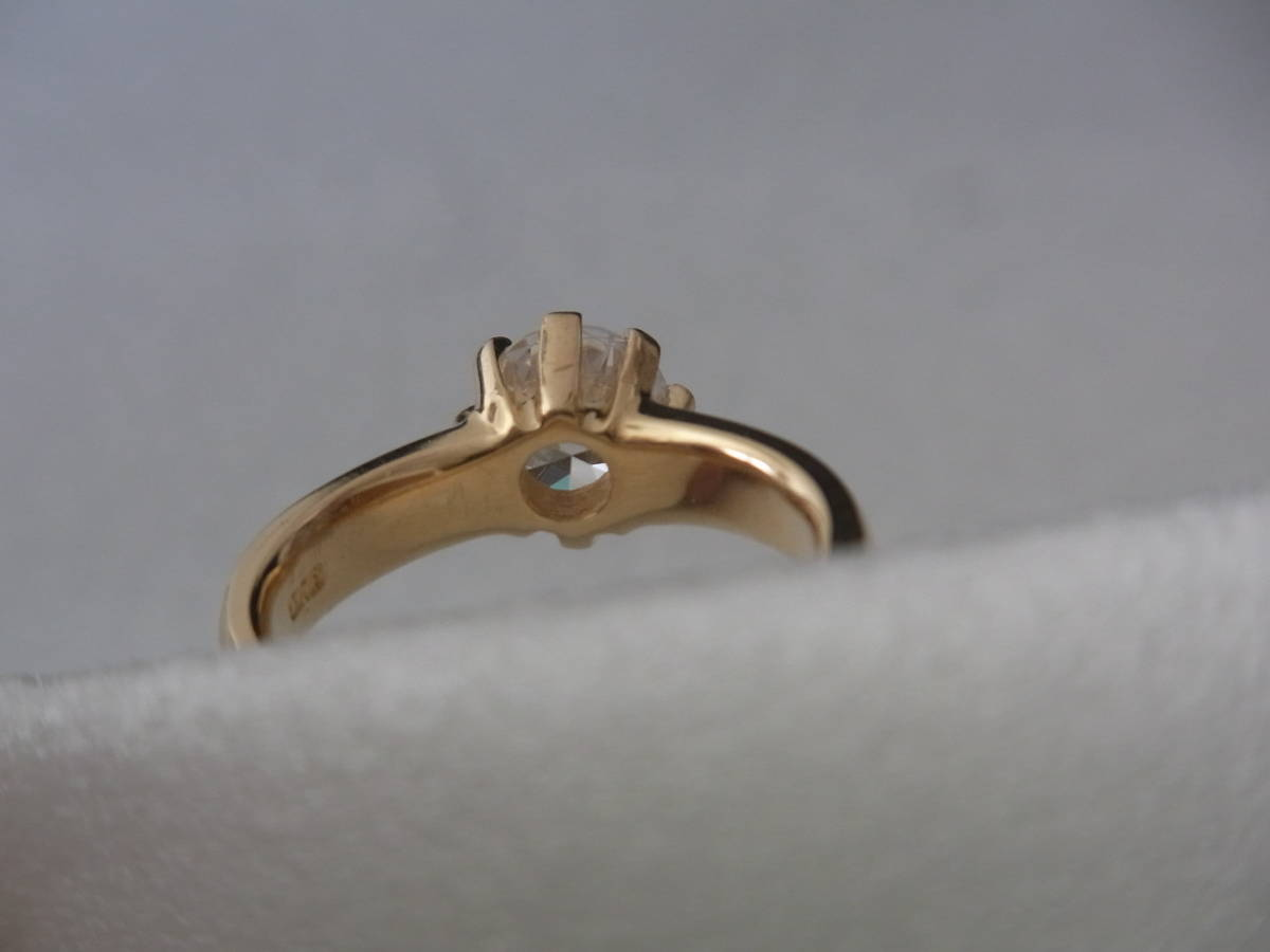 輝きはダイヤモンド級 キュービックジルコニア・リング シルバー・K18GF 指輪 サイズ17+ _画像8