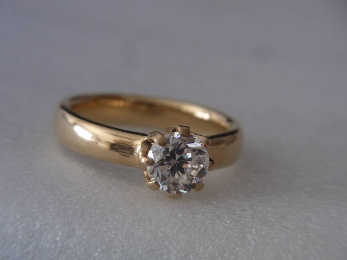 輝きはダイヤモンド級 キュービックジルコニア・リング シルバー・K18GF 指輪 サイズ17+ _画像6