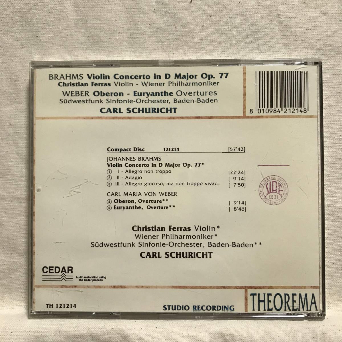 フェラス (Vn) / ブラームス:ヴァイオリン協奏曲 / シューリヒト &ウィーン・フィル●CEDAR (DECCA音源) ドイツ盤   _画像2