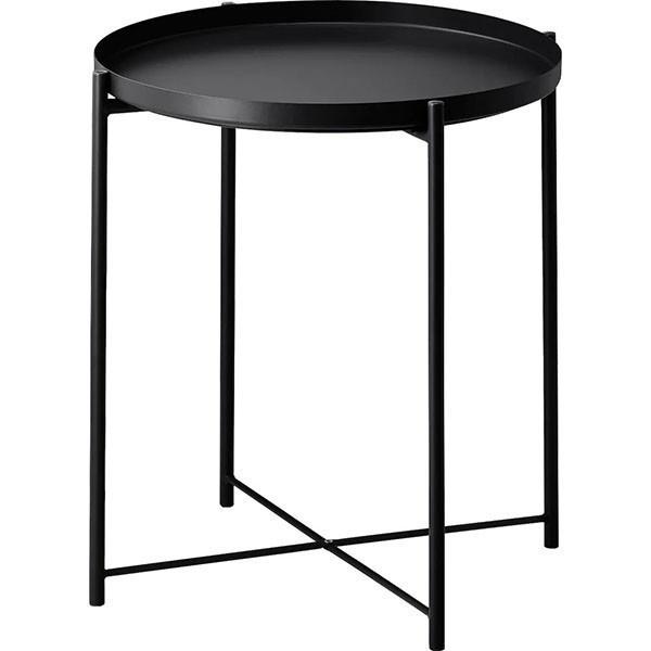 丸形 サイドテーブル ブラック 簡単組み立て コーヒーテーブル お盆 リビング 寝室 トレイテーブル トレーテーブル ナイトテーブル 花台_画像6