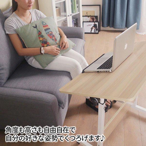サイドテーブル 60cm キャスター付き 高さ調節 65cm~87cm 天板 幅60cm 奥行40cm 角度調節 ノートパソコン デスク 机 テーブル 昇降_画像4
