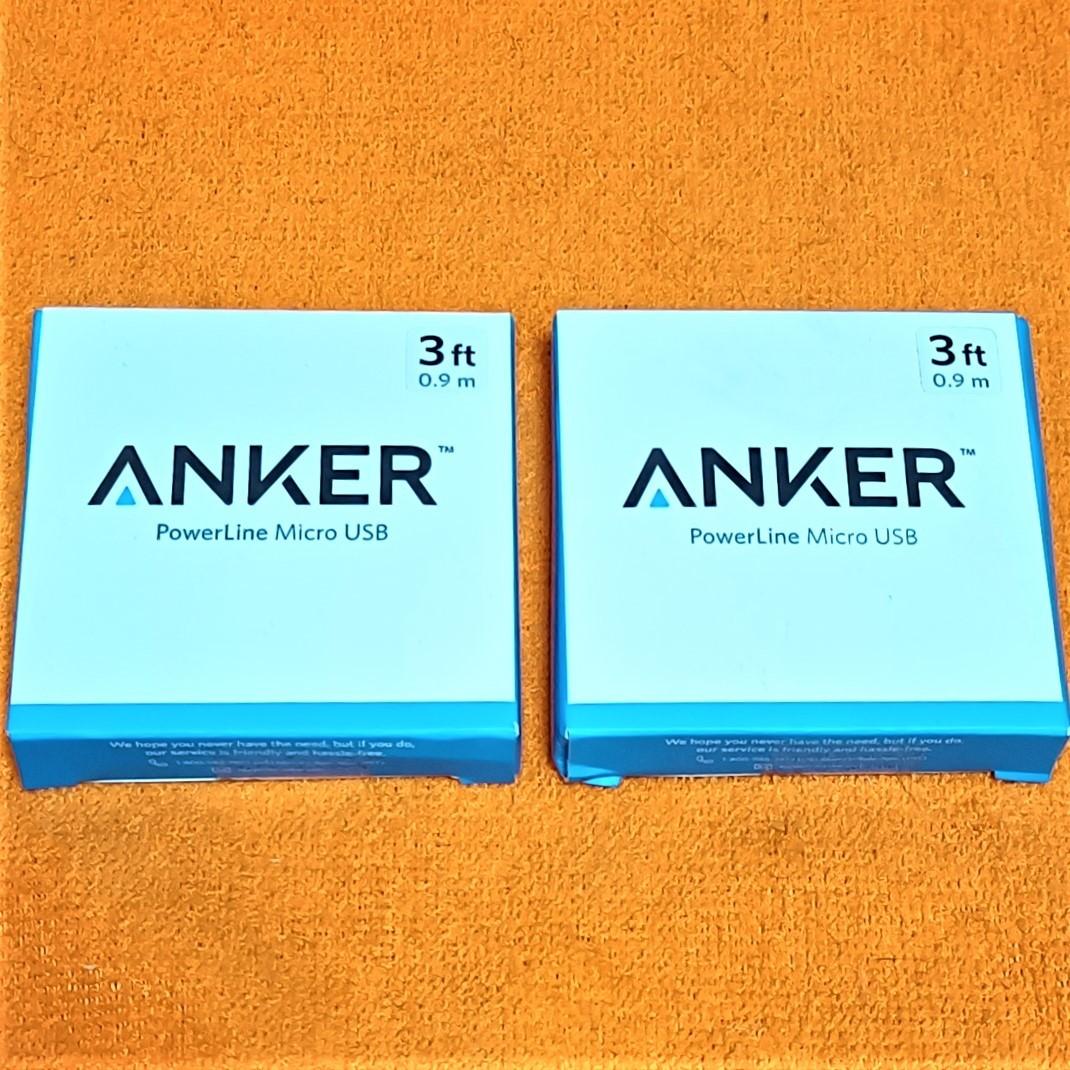 ★未使用★ Anker PowerLine Micro USB ケーブル2本 急速充電 高速データ転送対応