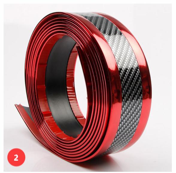 S-002 【1m×7cm】[シルバー/レッド]車のステッカー 3D カーボンファイバー ゴム プロテクター バンパーストリッププロテクター_画像2