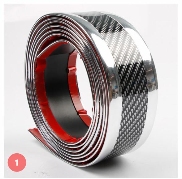 S-003 【3m×5cm】[シルバー/レッド]車のステッカー 3D カーボンファイバー ゴム プロテクター バンパーストリッププロテクター_画像1
