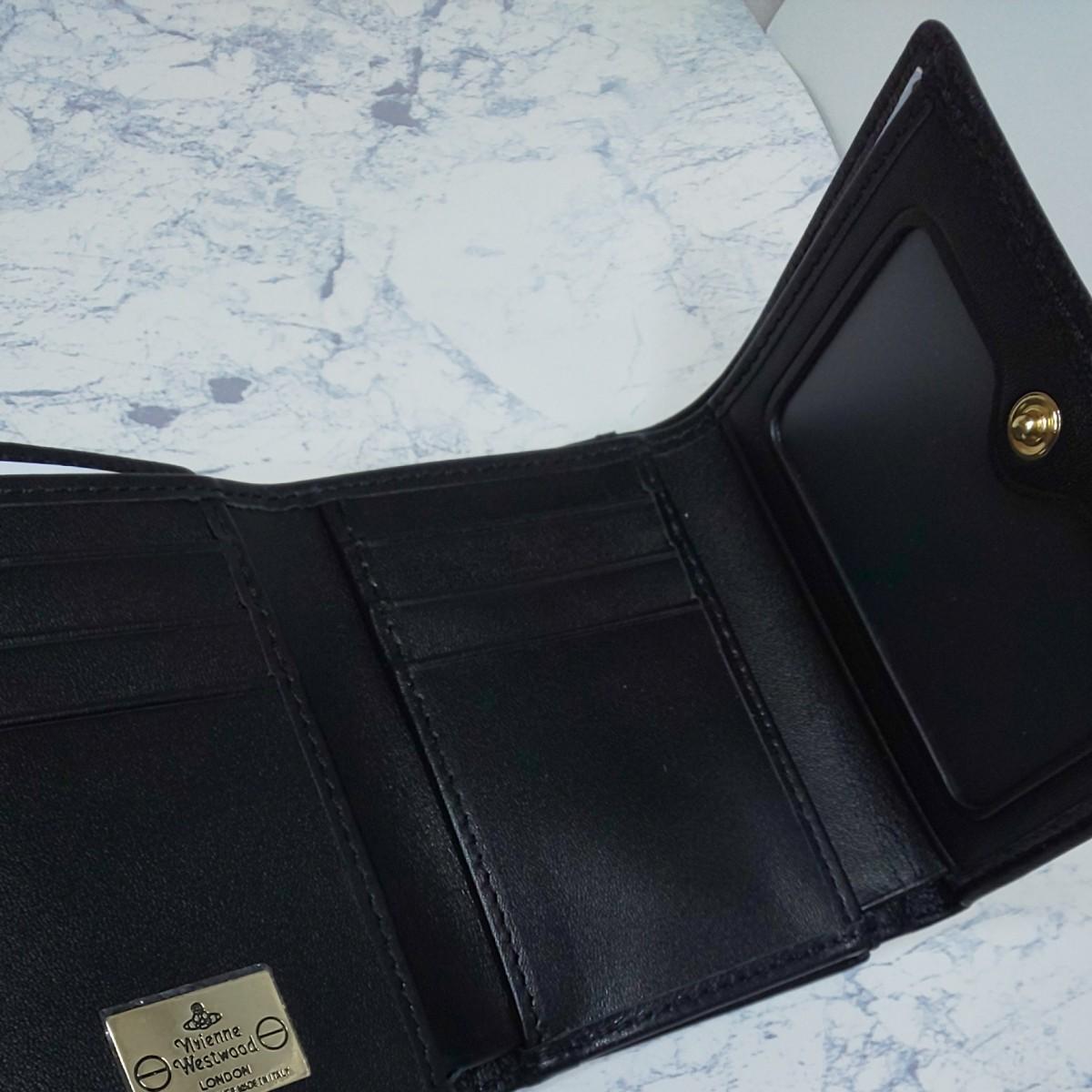 ヴィヴィアン ウエストウッド Vivienne Westwood 3つ折り財布 レディース かわいいコンパクトブラック新品未使用
