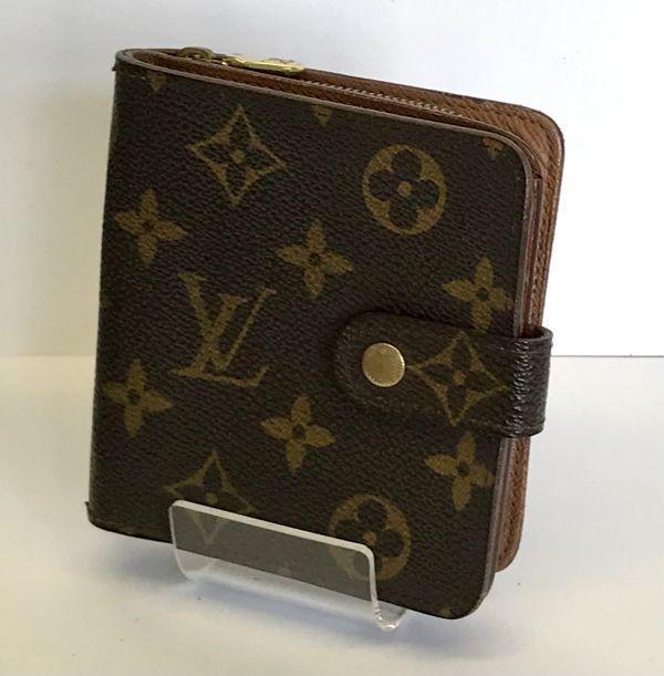 LOUIS VUITTON ルイヴィトン モノグラム コンパクトジップ M61667 二つ折り財布 ラウンドファスナー 財布 fah 4S231_画像1