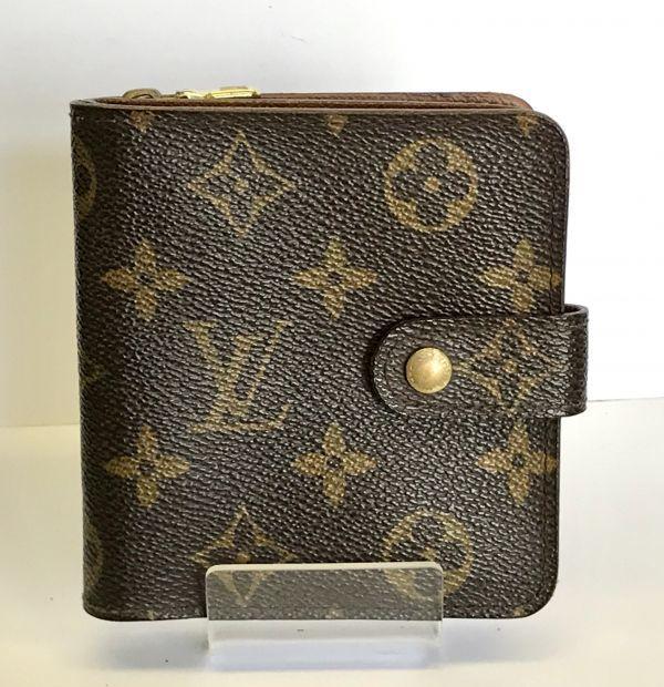 LOUIS VUITTON ルイヴィトン モノグラム コンパクトジップ M61667 二つ折り財布 ラウンドファスナー 財布 fah 4S231_画像2