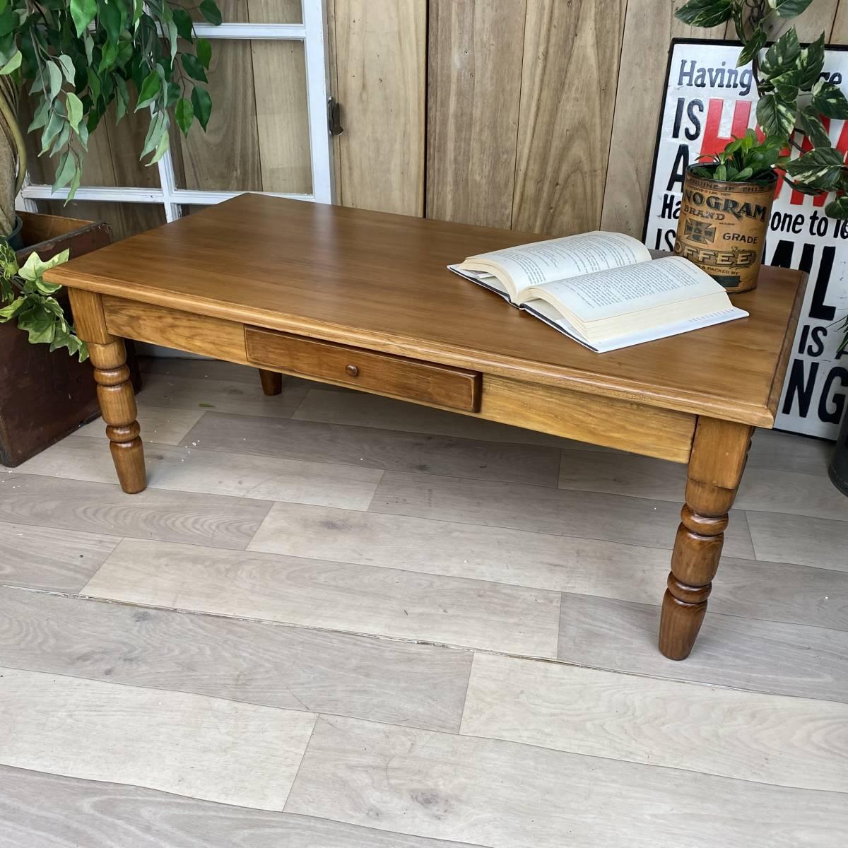送料無料、カントリー北欧風アンティーク調パイン材チェストテーブル☆木製松材材天然無垢材、デスク、机、引き出し付き、座卓、置き台_画像1