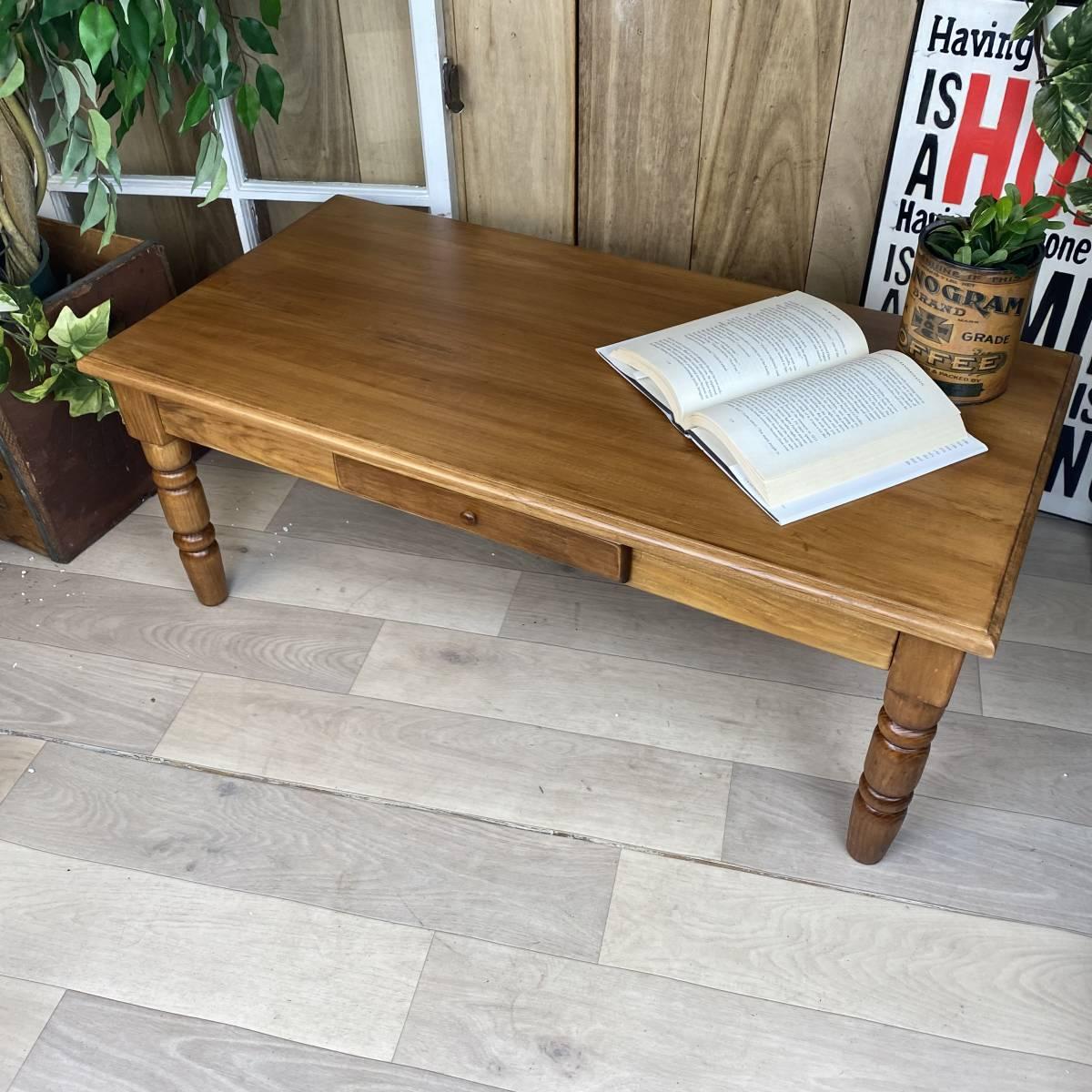 送料無料、カントリー北欧風アンティーク調パイン材チェストテーブル☆木製松材材天然無垢材、デスク、机、引き出し付き、座卓、置き台_画像3
