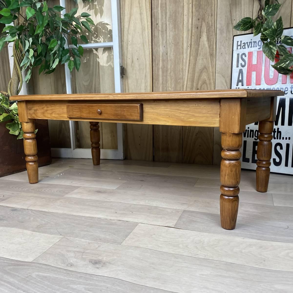 送料無料、カントリー北欧風アンティーク調パイン材チェストテーブル☆木製松材材天然無垢材、デスク、机、引き出し付き、座卓、置き台_画像6