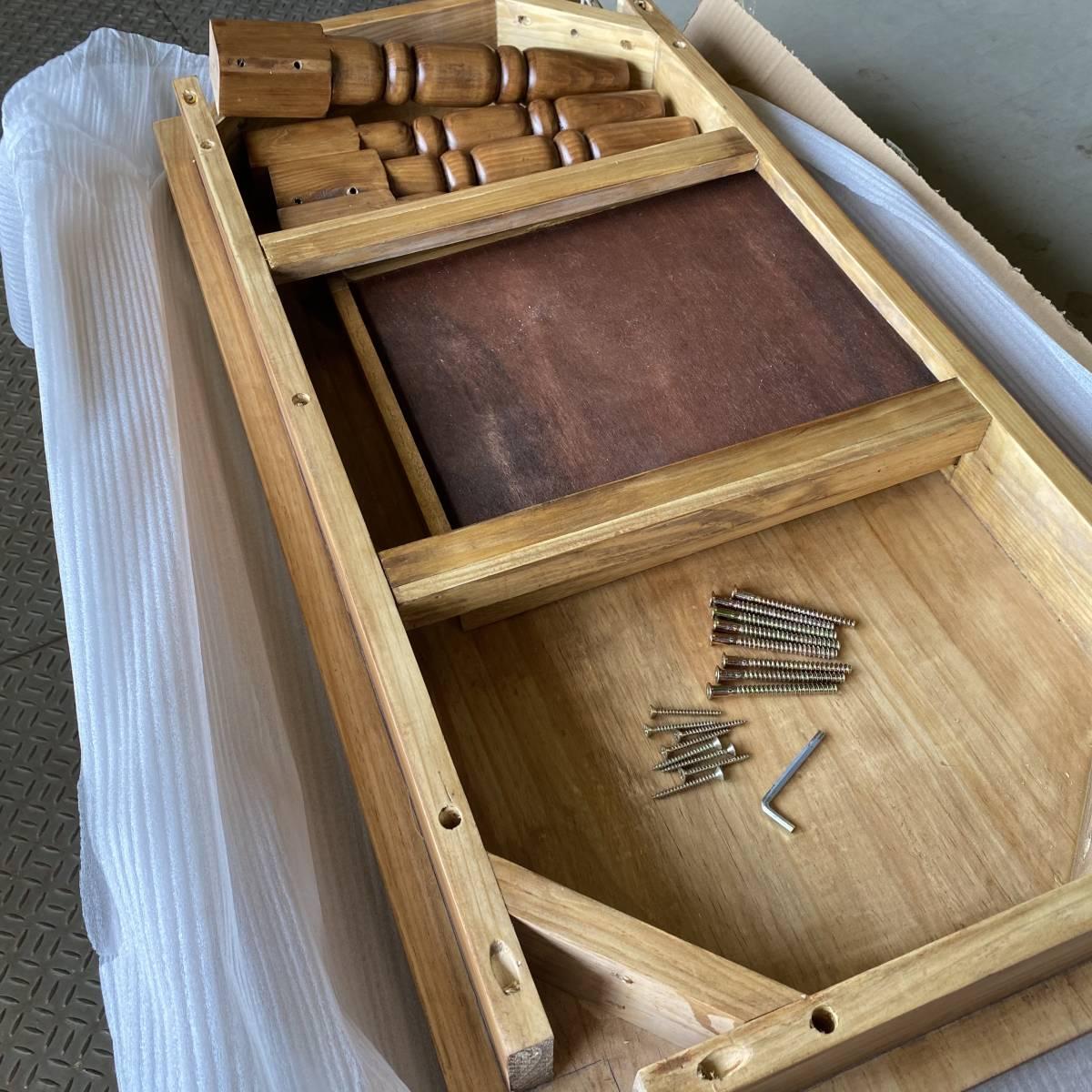 送料無料、カントリー北欧風アンティーク調パイン材チェストテーブル☆木製松材材天然無垢材、デスク、机、引き出し付き、座卓、置き台_画像8