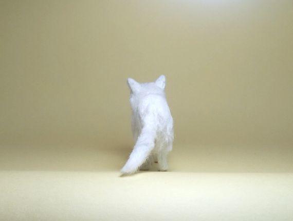 ★即決 1/12 ミニチュア ペルシャ猫 チンチラ ハンドメイド 羊毛フェルト 植毛 猫_画像7